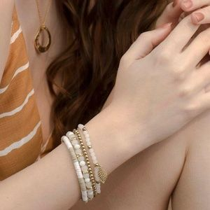 NWT Layer White Beaded Bracelet